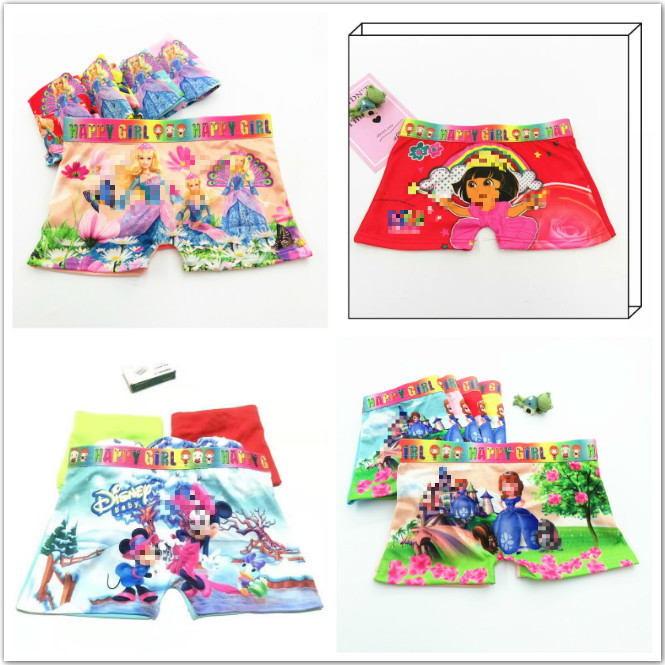 4pcs/lot Cute Children Girls Boys Underwear Fashion Boxers Short Infant Baby Panties Children Mixed Cotton Panties For 2-12y