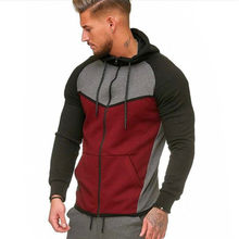 2019 New Thicken Men Sports Casual Wear Zipper Jacket Color Matching Fashion Male Autumn&Winter Sweatshirts Warm Comfortable(China)