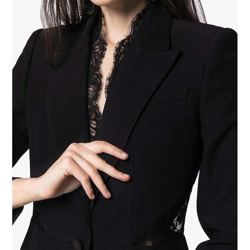 Cosmicchic 2020 Women Runway Design Blazer Lace Hollow Elegant Slim Blazers  Women Jackets Black White Work Office Female Coat
