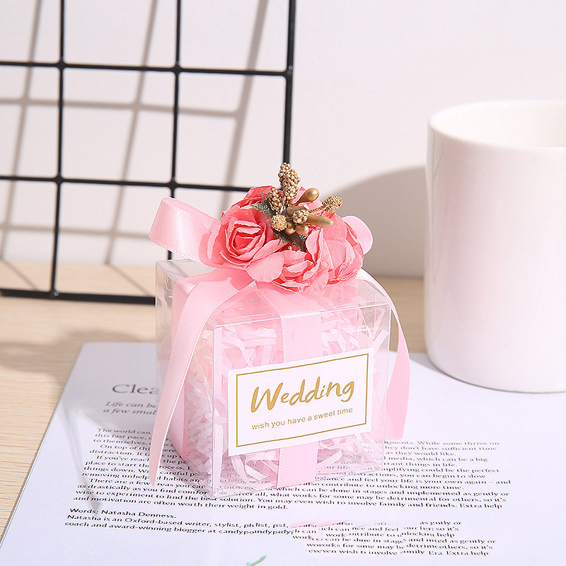 Candy Package Creative Bag WIth Gift Party Wedding Chocolate Engagement 50pcs Boxes Mini Ribbon Box Favor Favours For Flower PVC