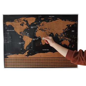 Erasable map 82*59cm Home decoration Wall stickers Toy stickers world map 252 national flags Waterproof paper Wall sticker map