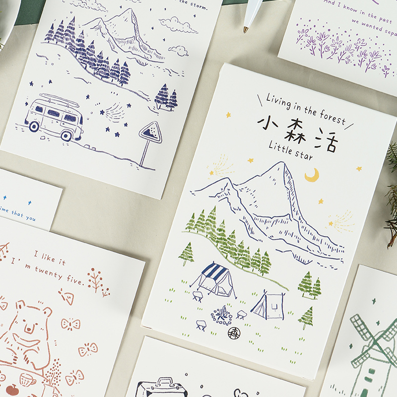 30 Pcs/Set Creative Living In The Forest Postcard DIY Greeting Cards Birthday Letter Gift Card Message Card