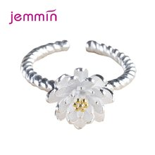 Korean 925 Sterling Silver Ring For Women Lotus Flower Wedding Engagement Jewelry Adjustable Anillos Mujer Trendy Finger Rings(China)