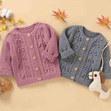 Baby Boys Girls Cardigan Sweater Autumn Spring Knitted Cardigan   Sweater Baby Clothes Toddler Little Ball Sweater Kids Coat