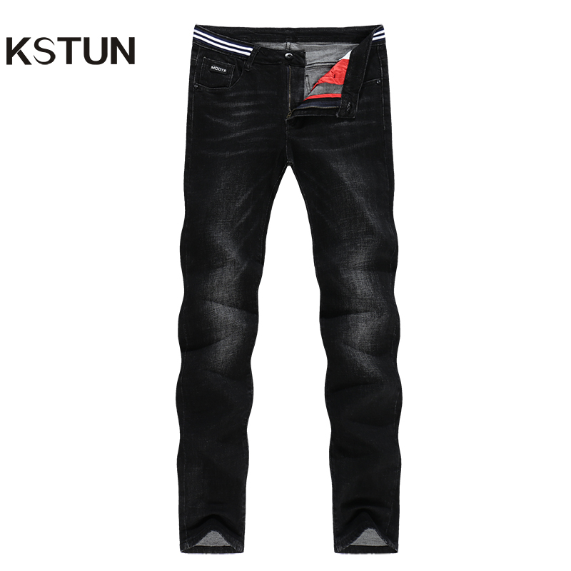 KSTUN Jeans For Men Famous Brand Black Jeans Striped Waist Spring And Autumn Stretch Slim Straight Business Casual Male Trousers