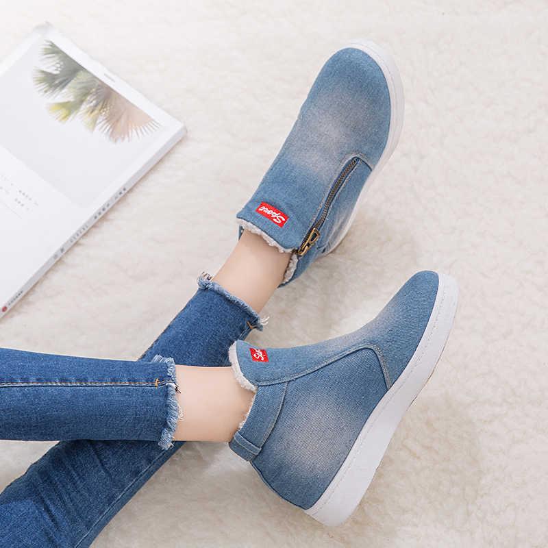 Phụ Nữ Mắt Cá Chân Giày Mùa Đông 2020 Giày Nữ Jean Denim Giày Nữ Ủng Mùa Đông Giày Size Lớn 35-44