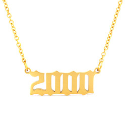 Gold Year Necklaces Number Date Of Birth Necklace Jewelry 2000 2001 2002 2003 2004 2005 Collier Femme bf