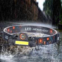 Przenośny reflektor Led Mini latarka latarnia Q5 + COB latarka wbudowany 18650 akumulator odkryty COB 2 tryb oświetlenia Camping reflektor tanie tanio FENGXINGHUWAI CN (pochodzenie) Żarówki led Wysoka średnim niskie 1804 180 ° ROHS Night Fishing Headlight LITHIUM ION