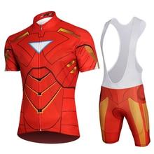 Marvel Avengers Superhero Cycling Jersey IronMan Clothing Suit Pro Bike Kits Bicycle Short Set