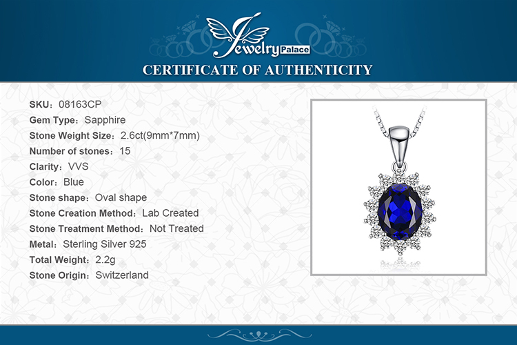 H6a8a16daff2f4d4e8cea55f9bc9e02b4G JewelryPalace Created Sapphire Pendant Necklace 925 Sterling Silver Gemstones Choker Statement Necklace Women Without Chain