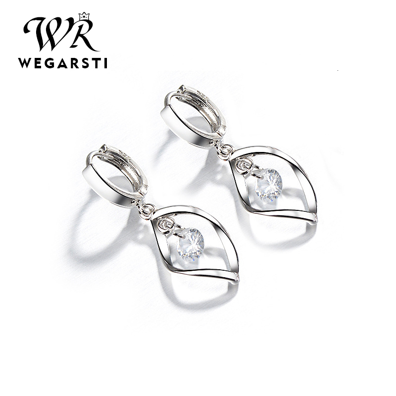 WEGARASTI Silver 925 Jewelry Earrings 925 Sterling Silver Fashion Women Earrings Simple Style Jewelry Gift For Girls Wholesale