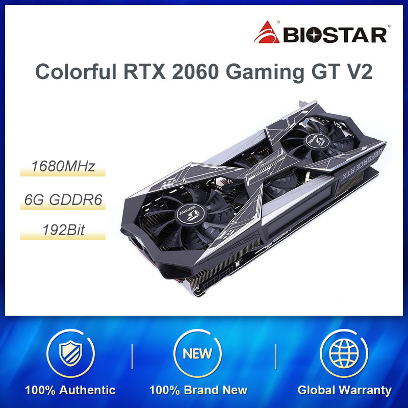 BUNTE GeForce RTX 2060 GPU Video Grafikkarte iGame Vulcan <font><b>X</b></font> OC PC Desktop 6GB GDDR6 TU106-200A 192bit PCI-E x16 (3,0) OC image