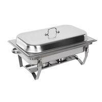 9L Chafing จานบุฟเฟ่ต์เตา Caterer สแตนเลสถาดอุ่นอาหารอาหารค่ำที่ให้บริการง่ายกำจัดบุฟเฟ่ต์เตาฝาครอบ