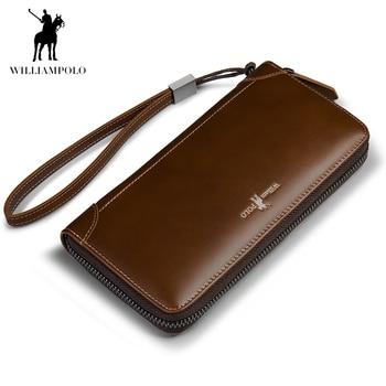 WILLIAMPOLO Retro Men's Wallet Genuine Leather Men's Clutch Long genuine leather zipper purse simple business retro clutch 326