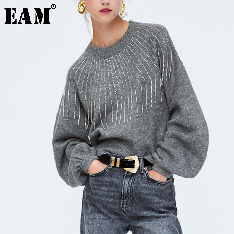 [EAM] 2019 New Spring High Collar Long Sleeve Hit Color Loose Bandage Bow Hollow Out Knitting Sweater Women Fashion Tide JL901