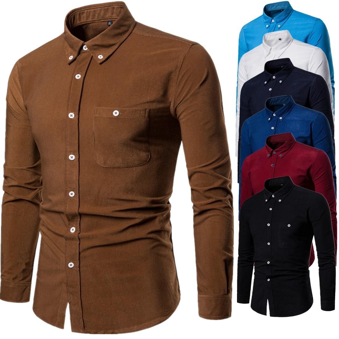 New Men's Business Long Sleeve Corduroy Shirt Fashion Men Cotton Trend Solid Color Lapel Shirt For Male Autumn Winter M-5XL