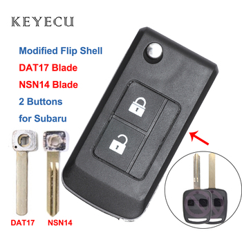 Keyecu Modified Flip Folding Remote Car Key Shell Case Housing 2 Buttons for Subaru Outback Legacy Forester Liberty Impreza image