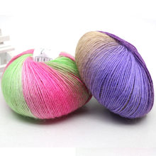 50g 15 Colors DIY Knitting Crafts Rainbow Color Printing Crochet Wool Yarn for Shawl Children Hat Scarf Gloves Sweater Knit Yarn(China)