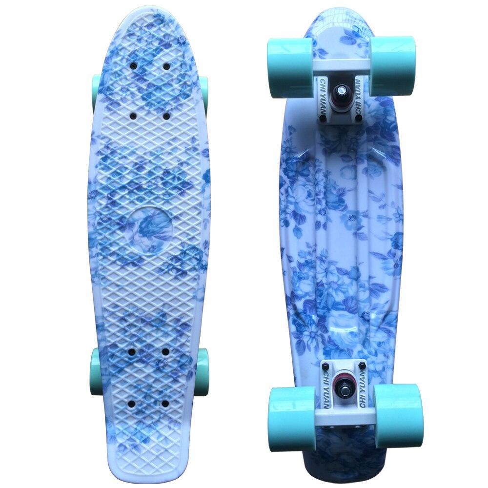 CHI YUAN Blue Floral Graphic Printed Mini Cruiser Skateboard 22