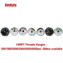 Paintball pistola de aire para Paintball, manómetro Mini Micro para pistola de aire PCP, calibre de presión de 150/300/1500/3000/5000 PSI/350bar, 1/8npt
