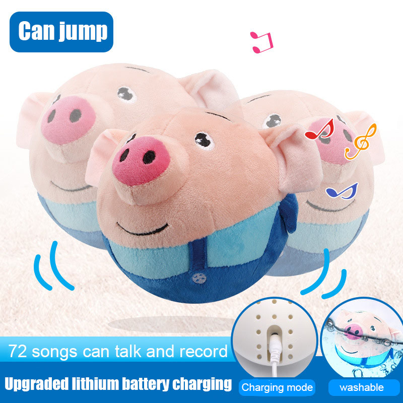 Hot Sale Cute Electric Bouncing Music Ball Toy Multi-Function Interactived Plush USB Charging Toy