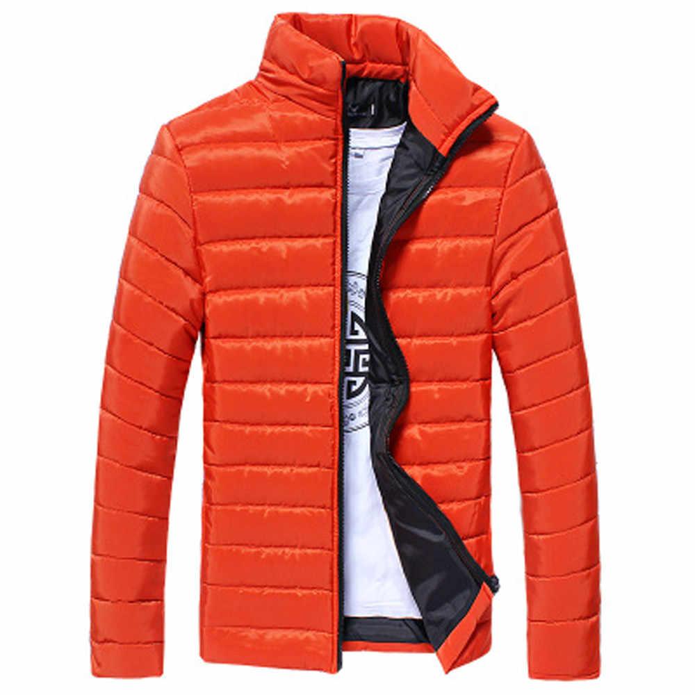 Erkek palto erkek erkek sıcak standı yaka ince kış Zip ceket dış giyim moda ceket kış Casual erkek palto ceket