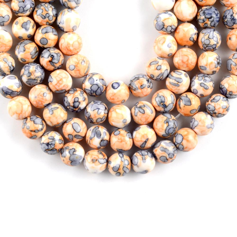 "Natural Orange Rain Flower Stone Round Loose Beads For Jewelry Making 4 12mm Spacer Beads Fit Diy Bracelet Necklace Accessory15"" in Beads from Jewelry Accessories"