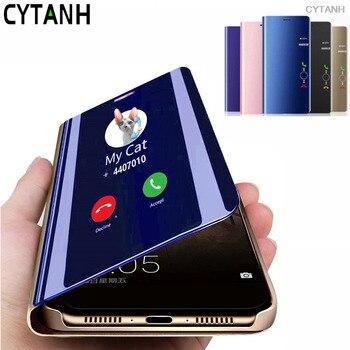 Перейти на Алиэкспресс и купить Чехол для samsung a41, умный зеркальный флип-чехол для samsung Galaxy a41 a 41 a415F sm-a415F a415, чехол для телефона с подставкой, чехлы