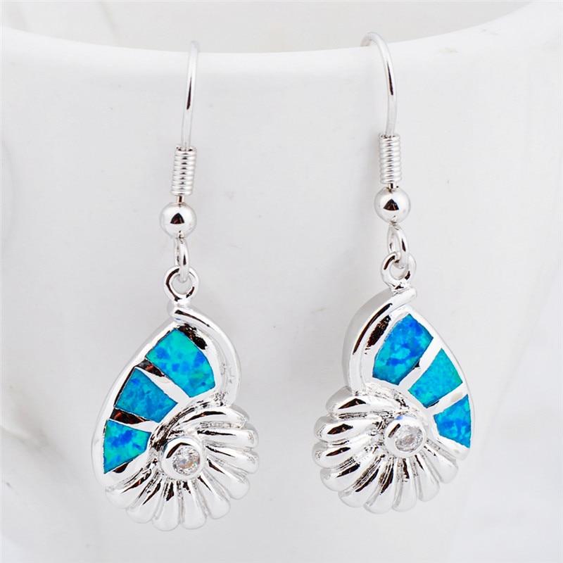 Charm Female Blue Opal Drop Earrings Cute Bridal Animal Wedding Earrings For Women Dainty White Gold Snails Dangle i Earrings