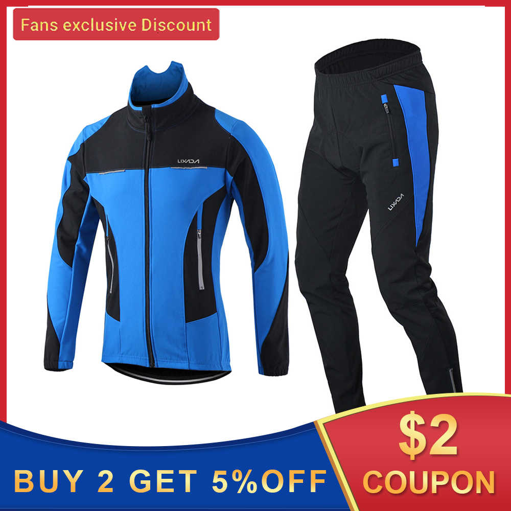 Lixada Mens Cycling Suit Long Sleeve Sportswear Windproof Cycling Clothing Set with Thermal Fleece Jersey 3D Padded Pants Trousers