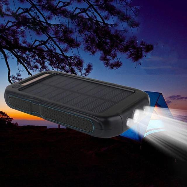 30000mah Solar Power Bank LED Outdoor Powerbank External Battery Dual Light Portable Mobile Charger for All smartphones  2