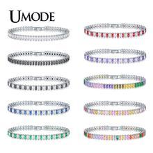 UMODE Fashion New Colorful CZ Crystal Tennis Bracelet for Women Men Rectangle Zircon White Gold Box Chain Jewelry Bijoux AUB0181