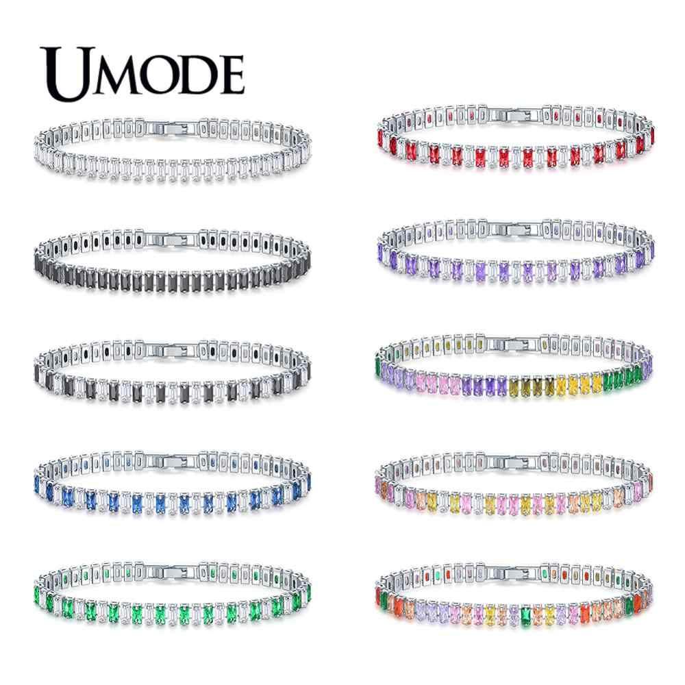 UMODE moda nowy kolorowe CZ kryształ bransoletka tenisowa dla kobiet mężczyzn prostokąt cyrkon biały złota skrzynia łańcuch biżuteria Bijoux AUB0181