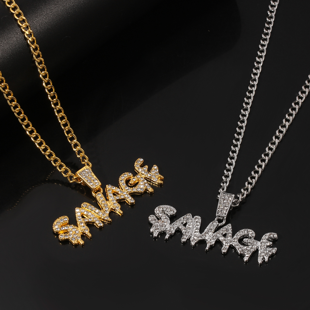 Punk Savage Letter Necklace & Pendant Shiny Ice Out Link Chain Necklace...
