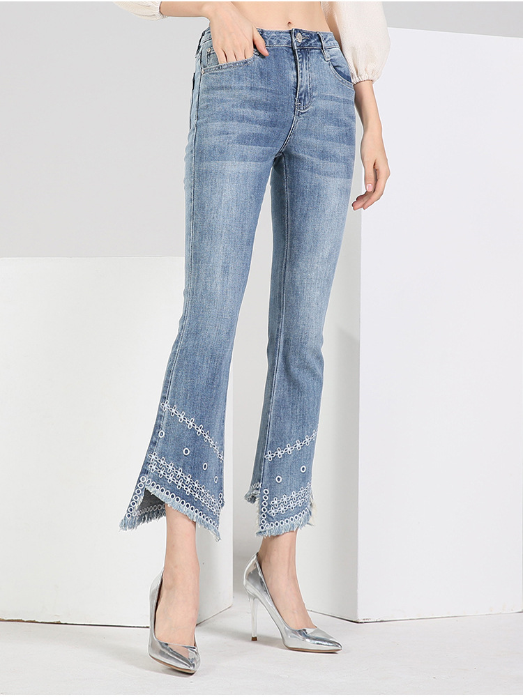 KSTUN FERZIGE women jeans high waist stretch embroidered flare pants frayed from the knees up this jeans would like a skinny jeans 17