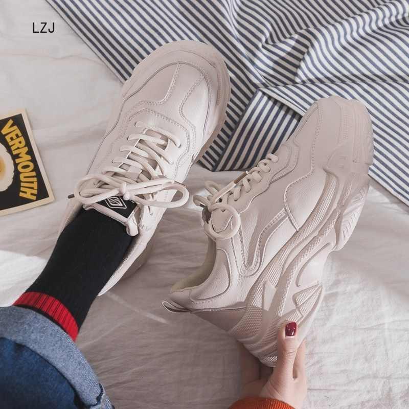Taille 35-40 2019 nouveau décontracté femmes baskets à lacets plate-forme chaussures femme pour semelle épaisse vulcaniser chaussures confortables