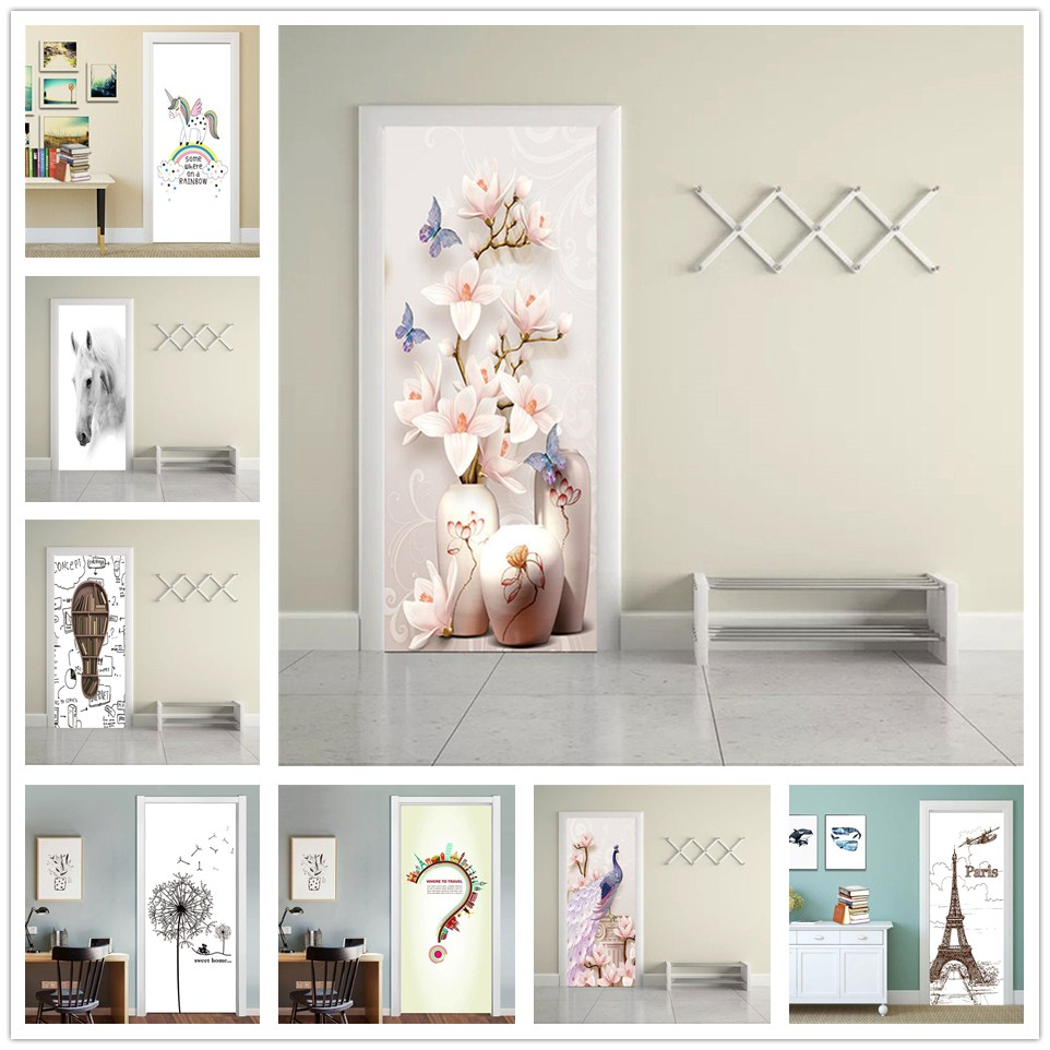 Fresh Simple Door Stickers Self-adhesive Waterproof DIY Wallpaper On The Doors Living Room Bedroom Home Decor Renew Vinyl Decal