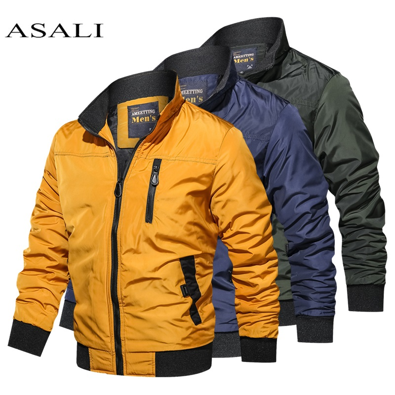 2020 Military Jacket Men Coats Spring Bomber Jacket Men Casual Slim Patchwork Windbreaker Jackets Male Outwear Zipper Thin Coat