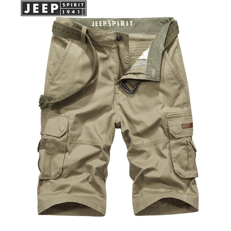 JEEP SPIRIT Mens Shorts Summer Military Short Men Mid-waist Knee Length Bermuda Masculina With Many Pockets Short Hombre No Belt