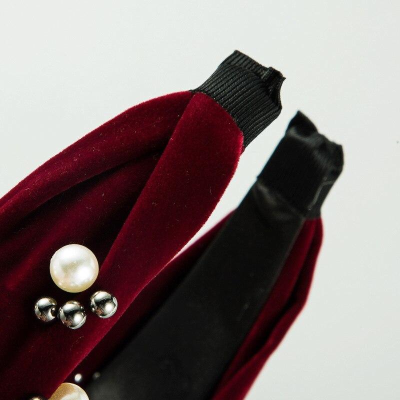 Простые бархатные жемчужные повязки для волос cn девочек и женщин