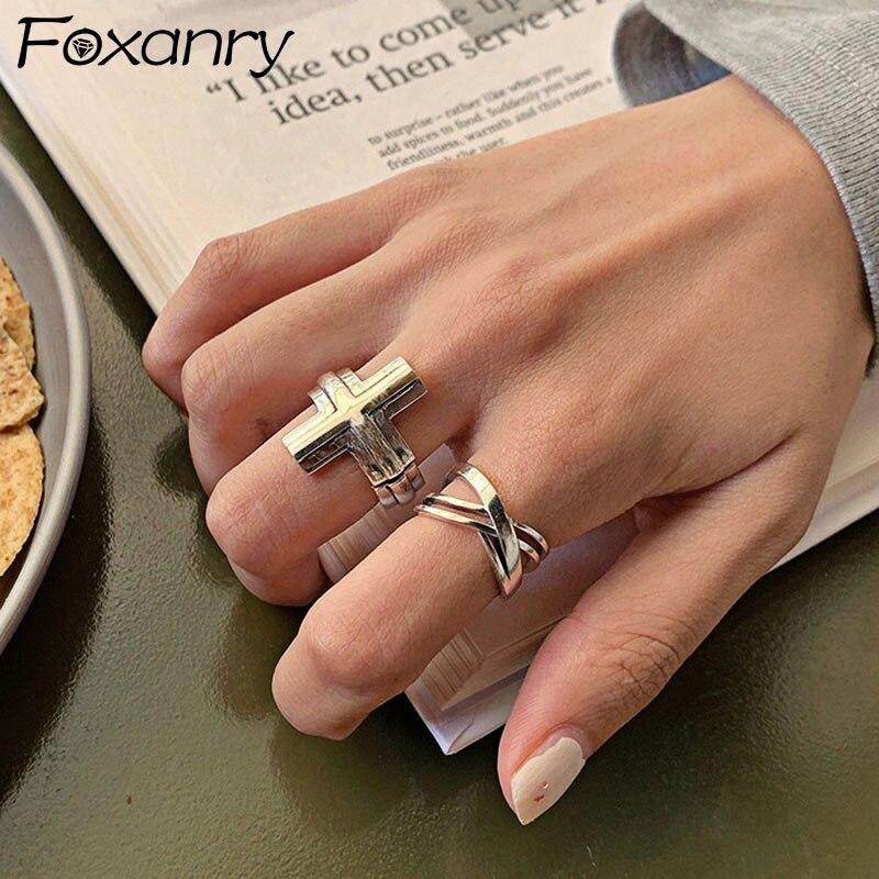 Foxanry – bagues en argent Sterling 925 pour femmes, bijoux minimaliste, Vintage, mode, Punk, croix géométrique, fait à la main, cadeaux de fête