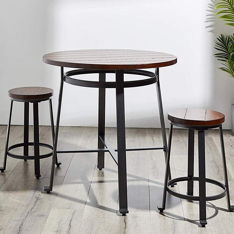 Современный дизайн, твердый деревянный барный столик, металлическая ножка, мебель для домашнего бара, круглый стол, высокий стол, знаменитый дизайн, лофт Caft Bar
