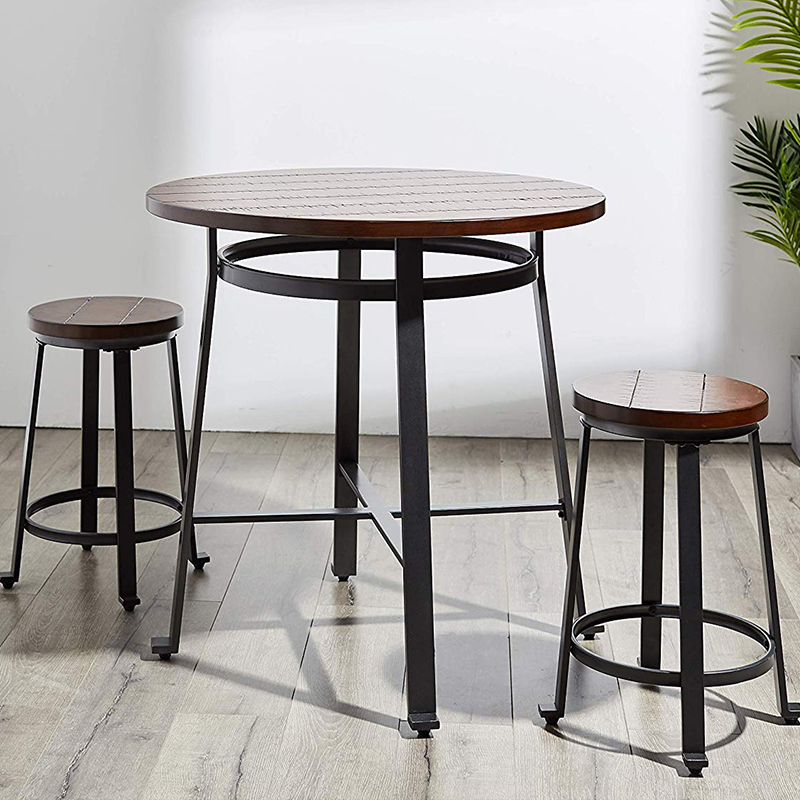 Modern Design Solid Wooden Bar Table Metal Leg Home Bar Furniture Round Counter Table HighTable Famous Design Loft Caft Bar