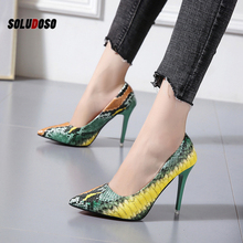 Big Size 34-42 Stiletto Heels Women Pumps Red Pointed Plaid Shoes Women Shallow High Thin Heels 2020 Party Wedding Shoes