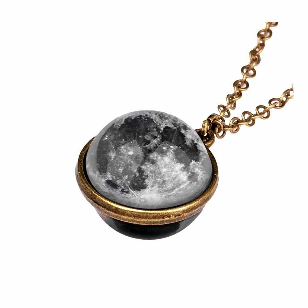 Kobiety złoto srebro kolorowa poświata w ciemny naszyjnik Galaxy System dwustronne szkło kopuła planeta naszyjnik wisiorek moda # w3