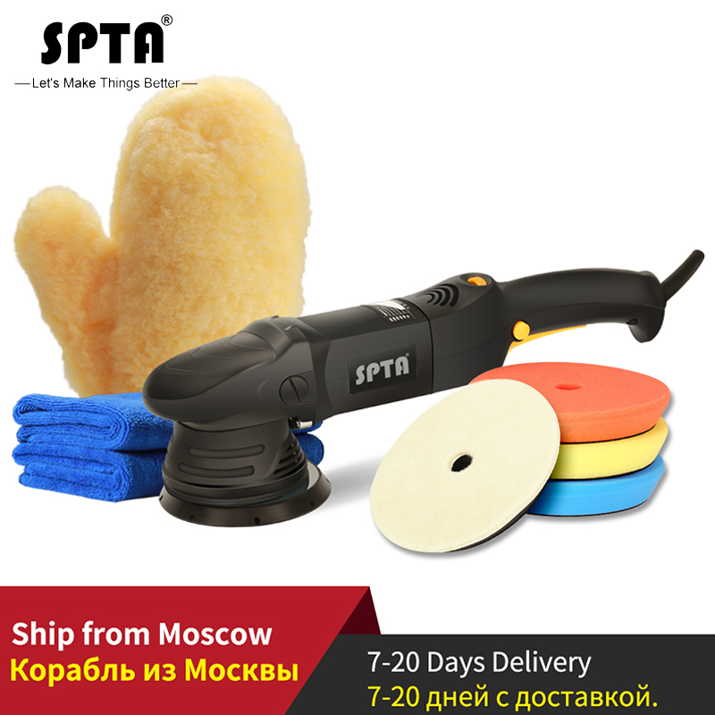 SPTA 5inch(125mm) 15mm Electric Dual Action Polisher for Car Portable Mini Buffing Polishing Machine with Polishing Pad Glove Polishers     - title=
