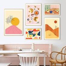 Formas de Abstracto sol imagem cartaz da parede dos desenhos animados festa de pizza ramen pintura los tela arte do corredor sala es
