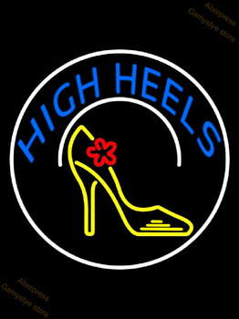 Neon Sign Blue Hair Salon Logo Open White Line With Scissor High Heels With Horseshoe Portrait Studio Oval With Red Border Farol