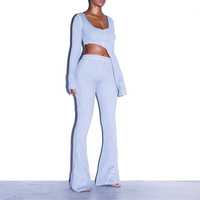 2020 New Fashion 2 Two Piece Set Women Ribbed V Neck Long Sleeve Top and Long Pants Set Sexy Autumn Tracksuit Women