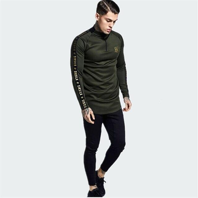 Camisas Sik de seda de España para hombre SikSilk, camisetas de hombre de manga larga, sudaderas de otoño, ropa informal estilo Hip Hop Sik, camiseta de seda, sudadera
